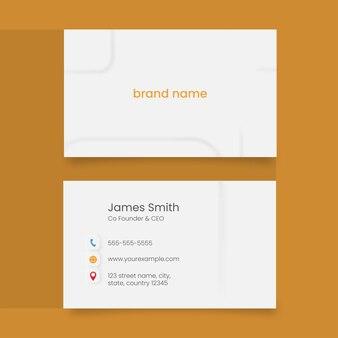 Layout de modelo de cartão de visita na frente e verso em fundo amarelo.