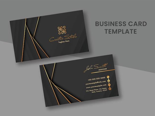 Layout de modelo de cartão de visita preto e dourado com dupla face.