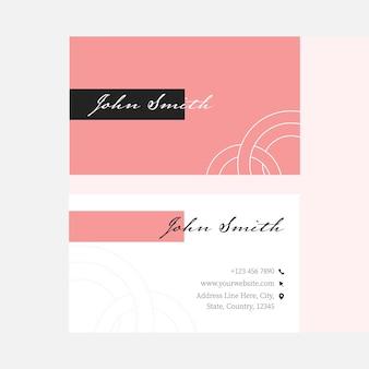 Layout de modelo de cartão de visita vermelho e branco com dupla face.