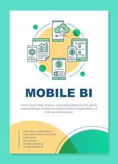 Layout de modelo de cartaz bi móvel. business intelligence