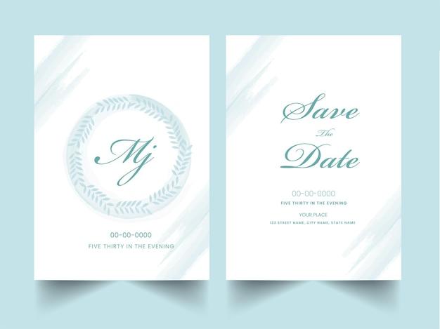 Layout de modelo de cartões de convite de casamento com efeito de pincel na cor azul e branca.