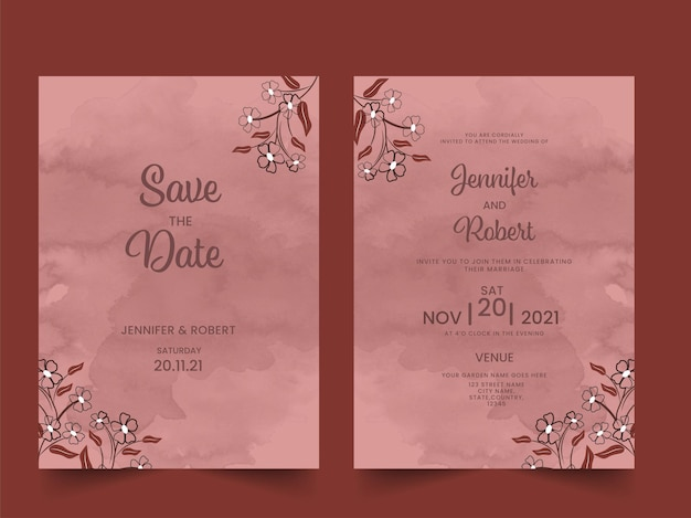 Layout de modelo de cartões de convite de casamento decorado com efeitos florais e aquarela.