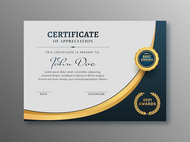 Layout de modelo de certificado de apreciação com emblema dourado