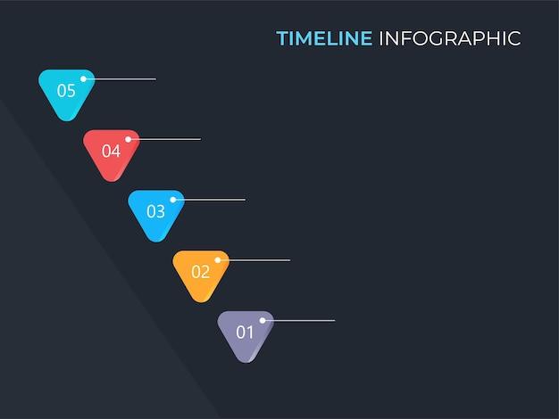 Layout de modelo de cronograma de infográfico de negócios com cinco opções em fundo cinza escuro