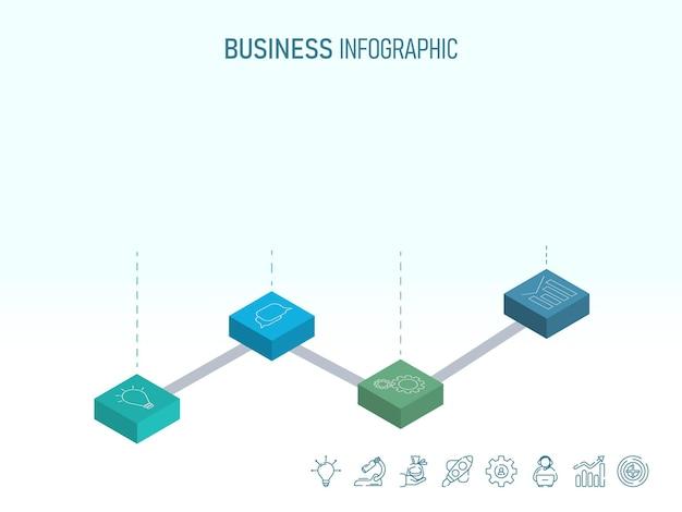 Layout de modelo de cronograma de infográfico de negócios com ícones blockchain 3d. Vetor Premium