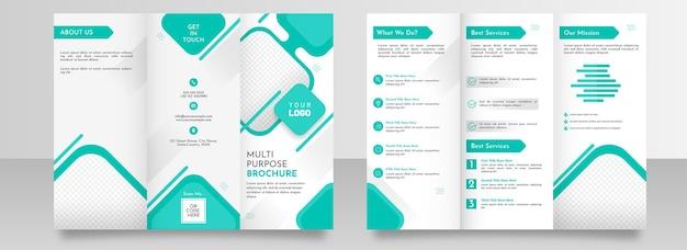 Layout de modelo de folheto com três dobras multifuncionais com dupla face nas cores ciano e branco.
