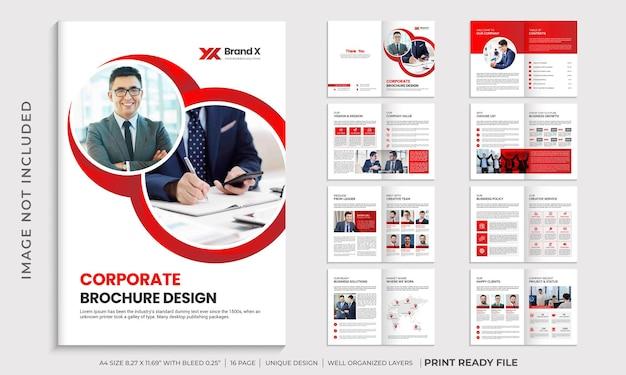 Layout de modelo de folheto corporativo de várias páginas em vermelho