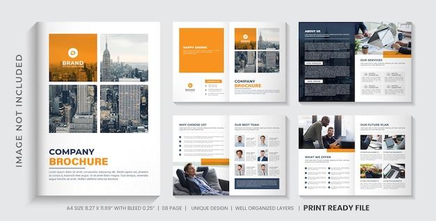 Layout de modelo de folheto da empresa ou design de folheto comercial minimalista de várias páginas