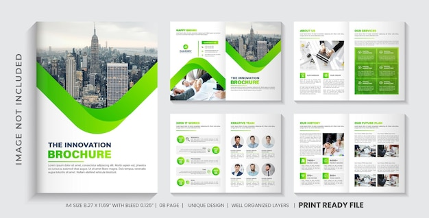 Layout de modelo de folheto de perfil da empresa ou design de folheto de várias páginas