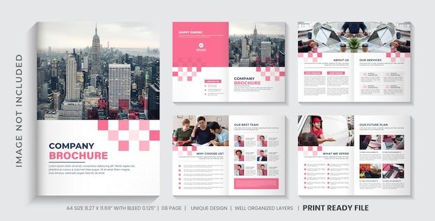 Layout de modelo de folheto de perfil da empresa ou design de modelo de folheto comercial minimalista