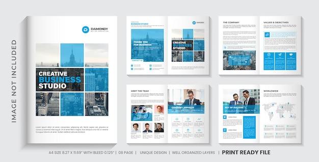 Layout de modelo de folheto de perfil da empresa ou design de modelo de folheto corporativo minimalista