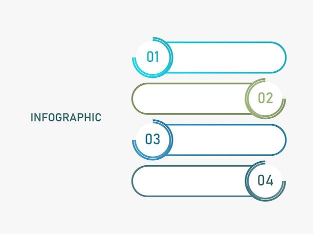 Layout de modelo de infográfico com quatro opções e espaço de cópia no fundo branco.