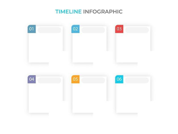 Layout de modelo de infográfico de linha do tempo de negócios com seis opções e espaço de cópia no fundo branco.