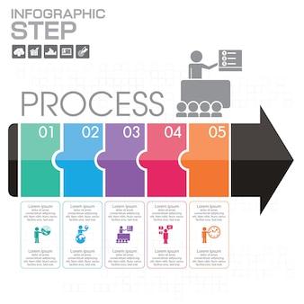 Layout de modelo de infográfico de negócios com ilustração de lápis colorido criativo.