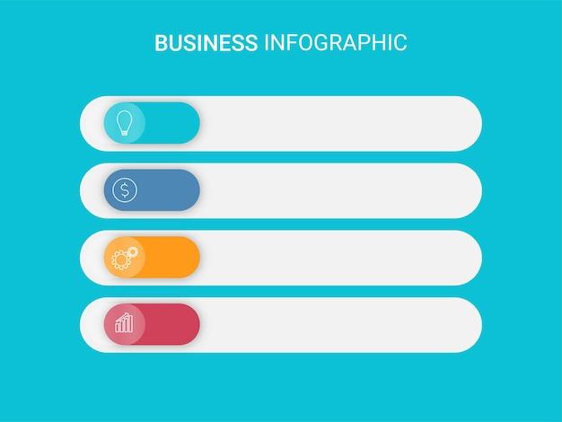 Layout de modelo de infográfico de negócios com quatro ícones de opção e espaço de cópia sobre fundo azul.