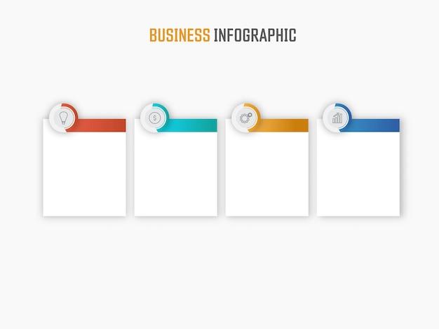 Layout de modelo de infográfico de negócios com quatro ícones de opções e espaço de cópia no fundo branco.