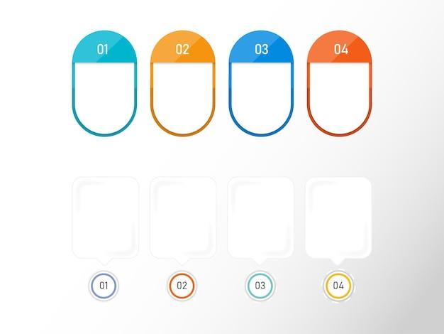 Layout de modelo de infográfico de negócios com quatro opções e espaço de cópia no fundo branco.