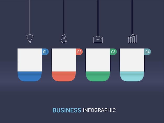 Layout de modelo de infográfico de negócios com quatro opções e espaço de cópia sobre fundo azul.