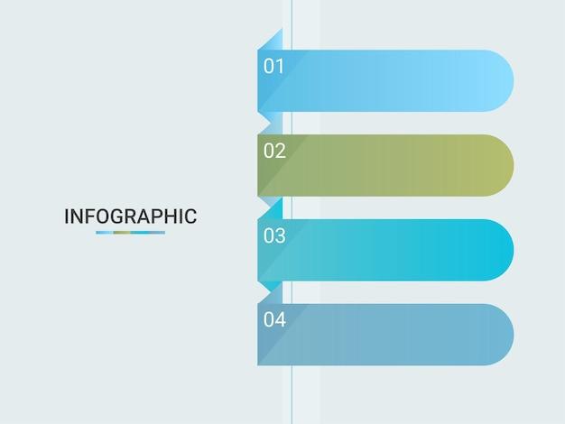 Layout de modelo de infográfico de negócios com quatro opções e espaço de cópia.