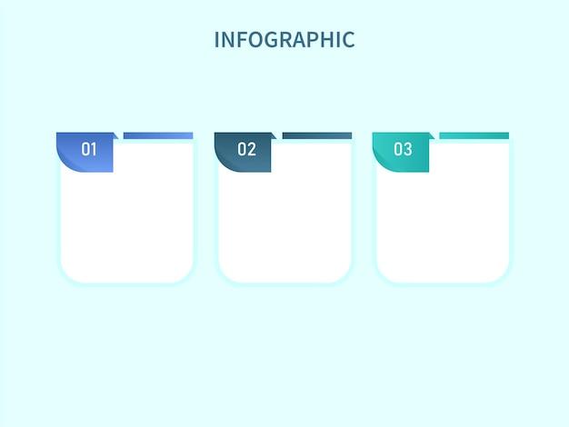 Layout de modelo de infográfico de negócios com três opções sobre fundo ciano claro.
