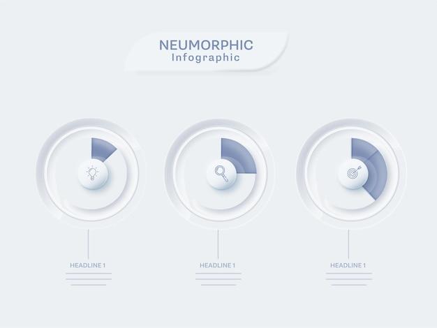 Layout de modelo de infográfico neumorfo com três níveis de infochart sobre fundo branco.