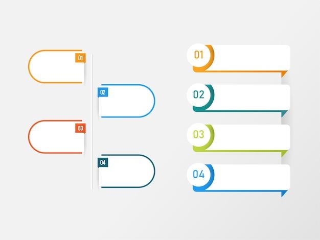 Layout de modelo de infográficos com quatro opções em fundo cinza.