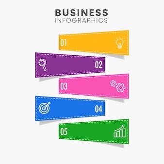 Layout de modelo de infográficos de negócios com cinco opções de cores em fundo branco.