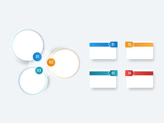 Layout de modelo de infográficos de negócios com opções de tipos diferentes.