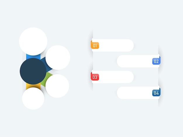 Layout de modelo de infográficos de negócios com quatro opções e espaço de cópia.