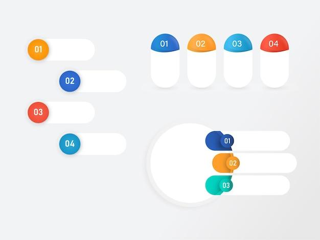 Layout de modelo de infográficos de negócios com quatro opções.