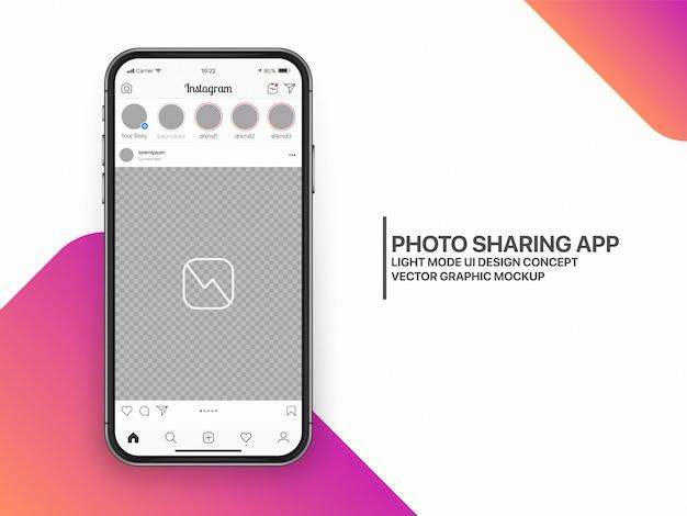 Layout de modelo de interface do usuário de maquete de mídia social ux