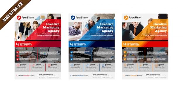 Layout de modelo de panfleto para agência de negócios