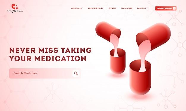 Layout de modelo de site criativo com medicamentos