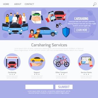Layout de modelo de web de serviço de compartilhamento de carro