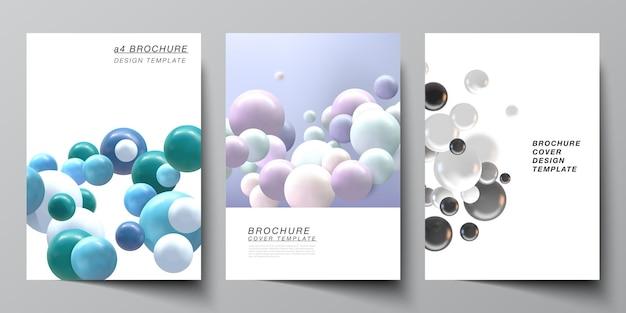 Layout de modelos de capa a4. esferas 3d multicoloridas realistas, bolhas, bolas.