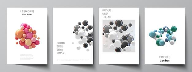 Layout de modelos de capa a4 para brochura, layout de folheto, livreto, design da capa, design do livro. fundo futurista abstrato com esferas 3d coloridas, bolhas brilhantes, bolas.