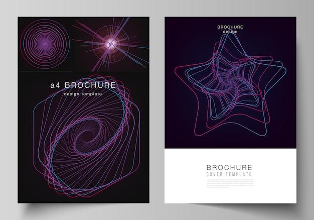 Layout de modelos de capa em formato a4 para brochura, linhas caóticas aleatórias