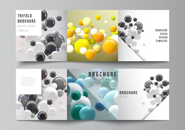 Layout de modelos de capas quadradas para brochura com três dobras com esferas coloridas e bolhas brilhantes