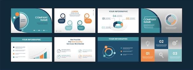 Layout de modelos de infográfico de negócios com gráfico de diagrama em oito opções.
