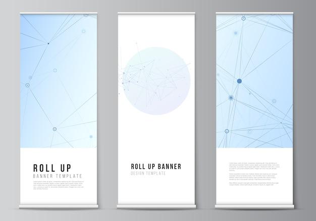 Layout de modelos de roll up para folhetos verticais