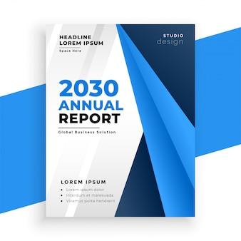 Layout de negócios de brochura de relatório anual azul