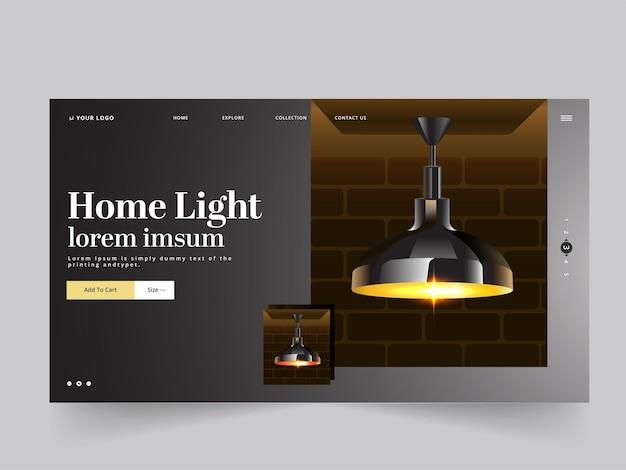 Layout de página ou banner de herói inicial com lâmpada de teto iluminada 3d pendurar no fundo preto.