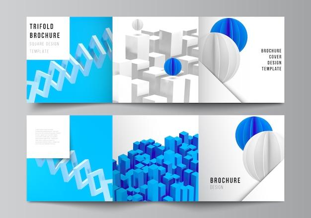 Layout de quadrados abrange modelos de design para três dobras brochura, folheto, revista, design da capa, design de livros. 3d render composição com formas azuis geométricas realistas dinâmicas em movimento.