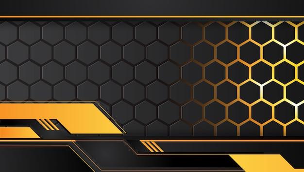 Layout de quadro metálico abstrato amarelo e preto laranja fundo de conceito de inovação de tecnologia