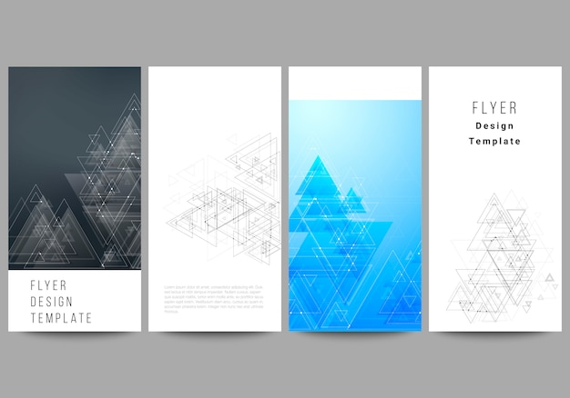 Layout de quatro banners modernos, panfletos, poligonais com triângulos