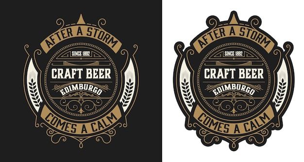 Layout de rótulo de cerveja estilo vintage