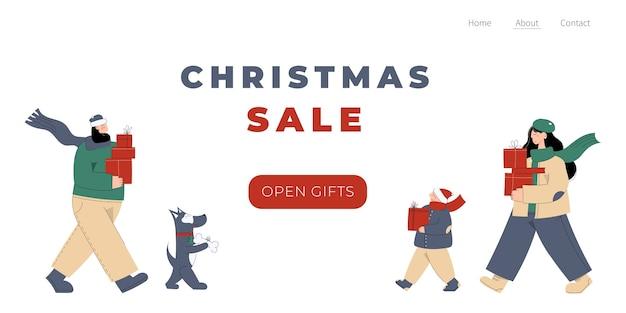 Layout de site de feliz natal e feliz ano novo com personagens desenhados à mão de mãe, pai, filho e cachorro carregando caixas de presente
