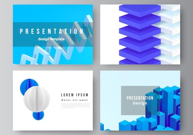 Layout de slides de apresentação modelos de design, modelo de folheto de apresentação, capa brochura, relatório de negócios. 3d rendem a composição com formas azuis geométricas dinâmicas no movimento.