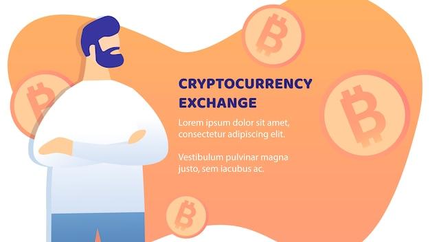 Layout de vetor de banner plana de troca de criptomoeda