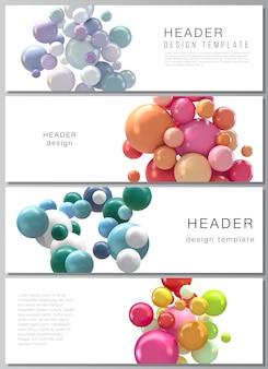 Layout de vetor de cabeçalhos, modelos de design de banner. fundo abstrato com esferas 3d coloridas